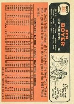 1966 Topps #385 Ken Boyer back image