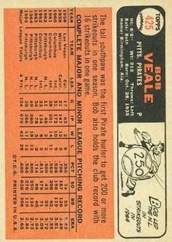 1966 Topps #425 Bob Veale back image
