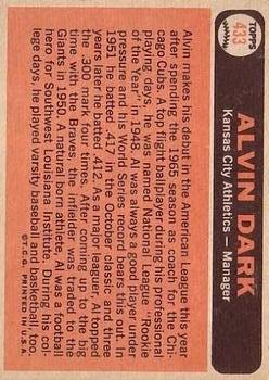 1966 Topps #433 Alvin Dark MG back image