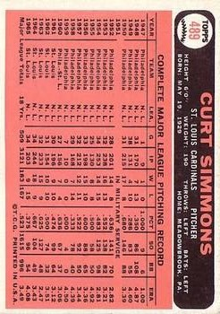 1966 Topps #489 Curt Simmons back image