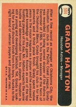 1966 Topps #504 Grady Hatton MG back image