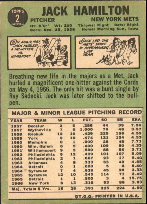 1967 Topps #2 Jack Hamilton back image