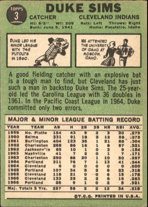1967 Topps #3 Duke Sims back image