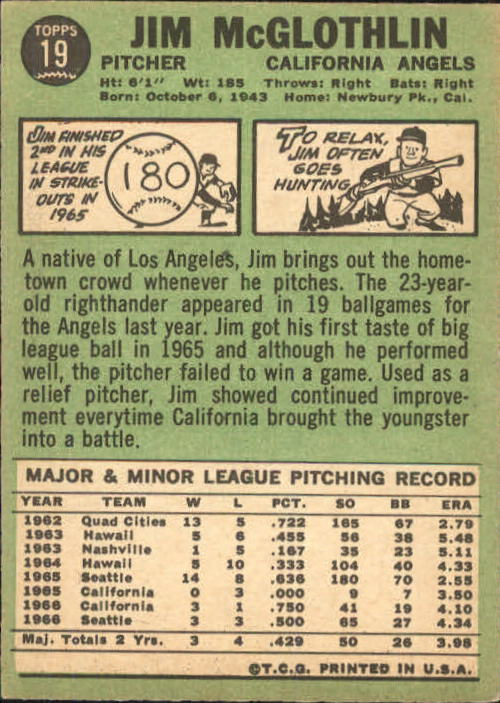 1967 Topps #19 Jim McGlothlin back image