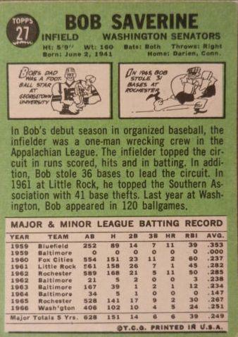 1967 Topps #27 Bob Saverine back image