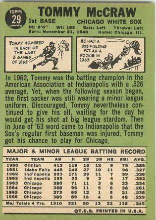 1967 Topps #29 Tom McCraw back image