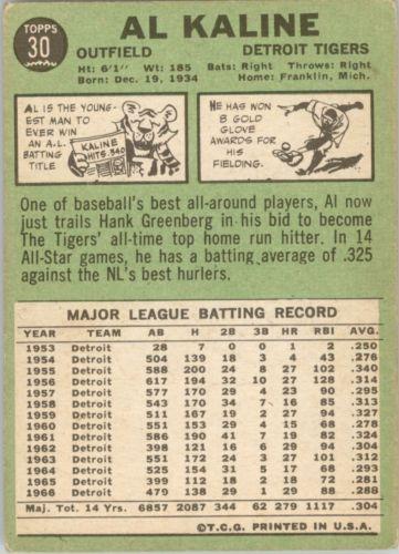 1967 Topps #30 Al Kaline DP back image