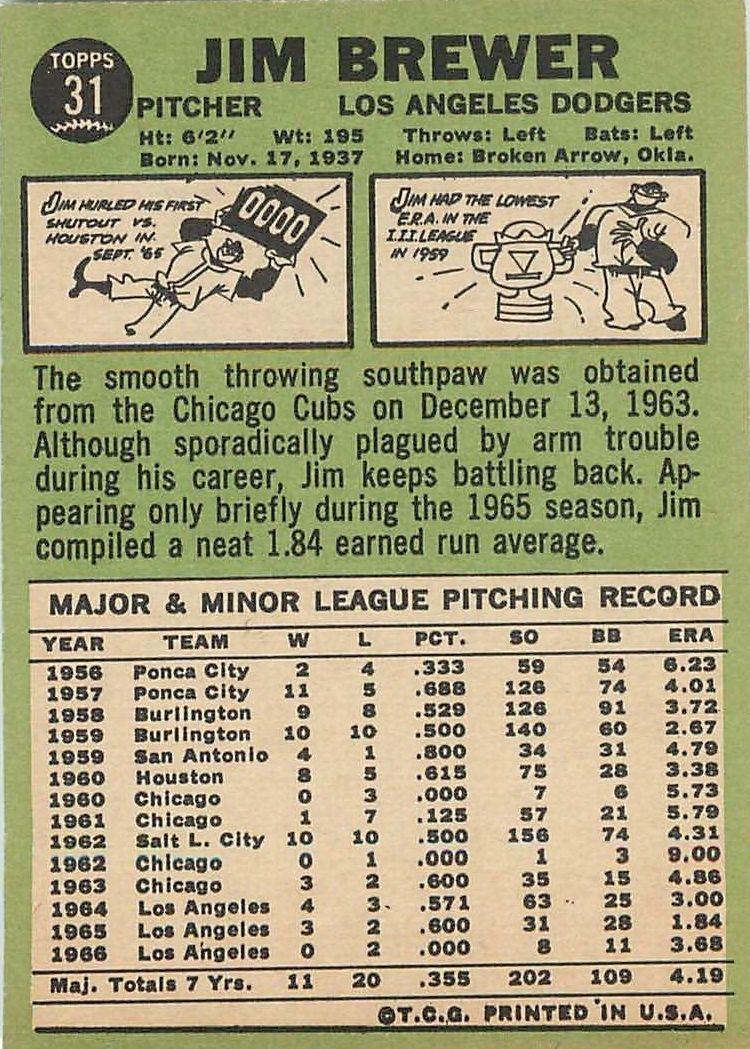 1967 Topps #31 Jim Brewer back image