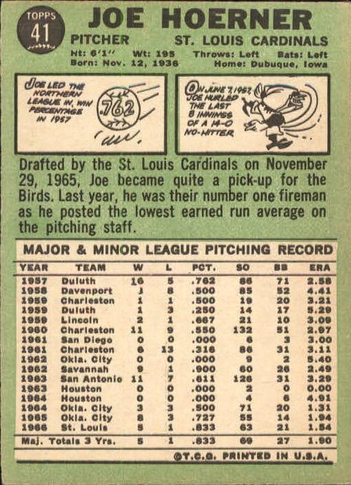 1967 Topps #41 Joe Hoerner back image