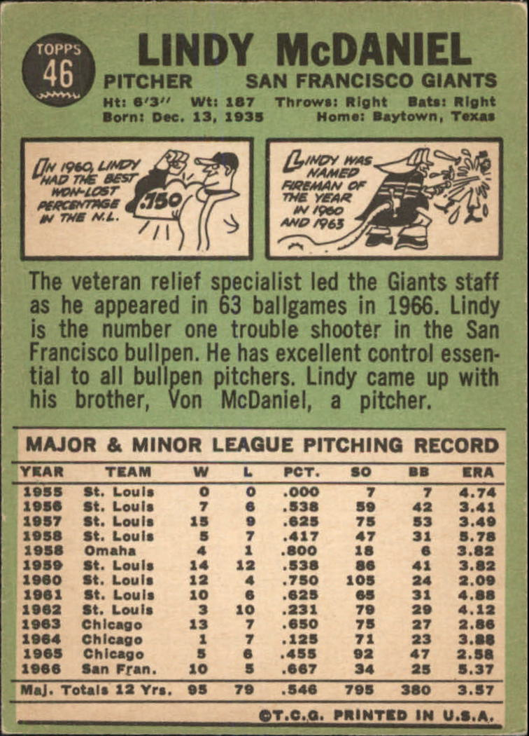1967 Topps #46 Lindy McDaniel back image