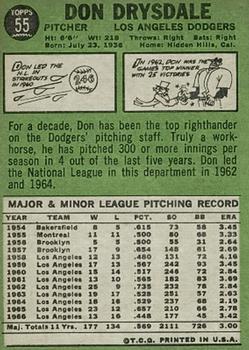 1967 Topps #55 Don Drysdale back image