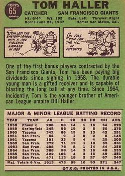 1967 Topps #65 Tom Haller back image