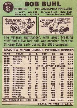 1967 Topps #68 Bob Buhl back image
