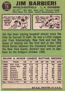 1967 Topps #76 Jim Barbieri RC back image