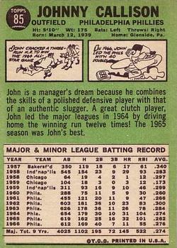 1967 Topps #85 Johnny Callison back image