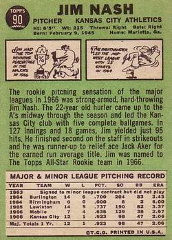 1967 Topps #90 Jim Nash RC back image