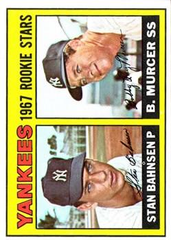 1967 Topps #93 Rookie Stars/Stan Bahnsen RC/Bobby Murcer
