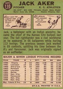 1967 Topps #110 Jack Aker back image