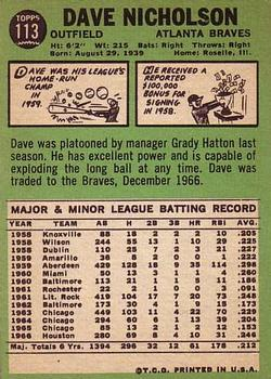 1967 Topps #113 Dave Nicholson back image