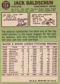 1967 Topps #114 Jack Baldschun back image