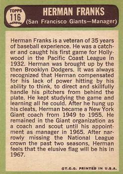 1967 Topps #116 Herman Franks MG back image