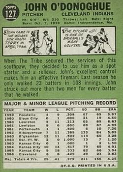 1967 Topps #127 John O'Donoghue back image