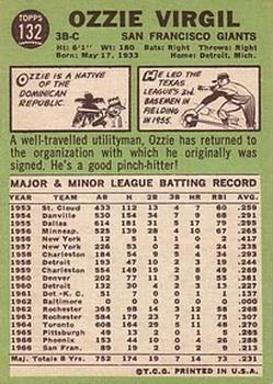 1967 Topps #132 Ozzie Virgil back image