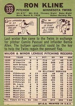 1967 Topps #133 Ron Kline back image