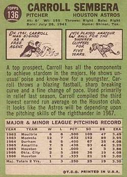 1967 Topps #136 Carroll Sembera back image