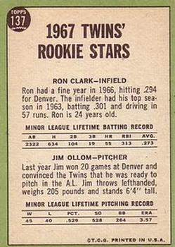 1967 Topps #137 Rookie Stars/Ron Clark RC/Jim Ollum RC back image