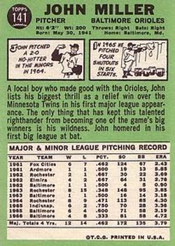1967 Topps #141 John Miller back image