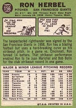 1967 Topps #156 Ron Herbel back image