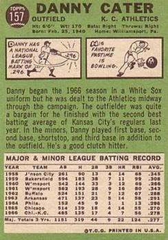 1967 Topps #157 Danny Cater back image