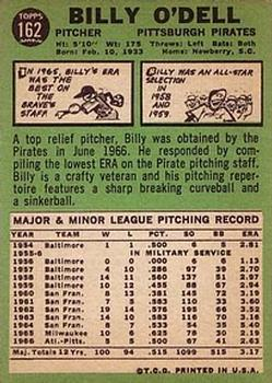 1967 Topps #162 Billy O'Dell back image