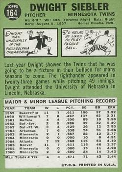 1967 Topps #164 Dwight Siebler UER/Last line of stats/shows 1960 Minnesota back image