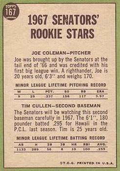 1967 Topps #167 Rookie Stars/Joe Coleman RC/Tim Cullen RC back image