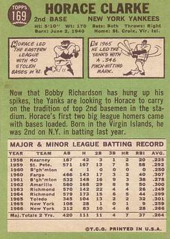 1967 Topps #169 Horace Clarke back image