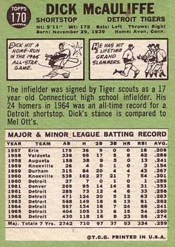 1967 Topps #170 Dick McAuliffe back image
