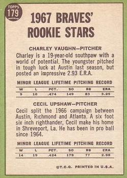 1967 Topps #179 Rookie Stars/Charles Vaughan RC/Cecil Upshaw RC back image