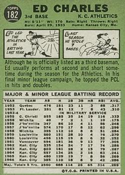 1967 Topps #182 Ed Charles back image