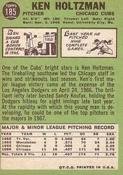 1967 Topps #185 Ken Holtzman RC back image