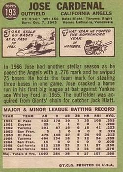 1967 Topps #193 Jose Cardenal back image