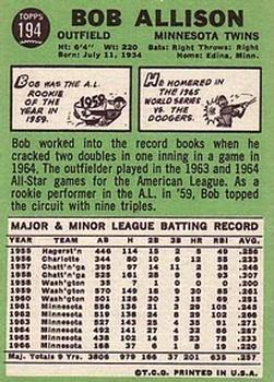 1967 Topps #194 Bob Allison back image