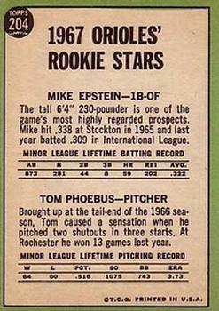 1967 Topps #204 Rookie Stars/Mike Epstein RC/Tom Phoebus RC back image