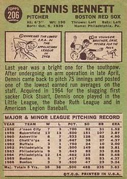 1967 Topps #206 Dennis Bennett back image