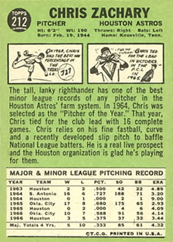 1967 Topps #212 Chris Zachary back image