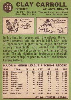1967 Topps #219 Clay Carroll back image