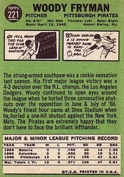 1967 Topps #221 Woody Fryman back image