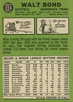 1967 Topps #224 Walt Bond back image