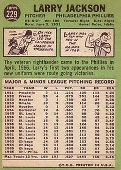1967 Topps #229 Larry Jackson back image